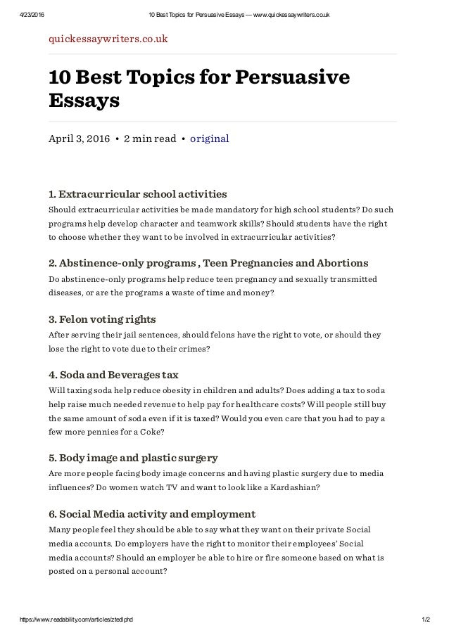 best topics for persuasive essays quickessaywriters co uk 4 23 2016 10 best topics for persuasive essays quickessaywriters