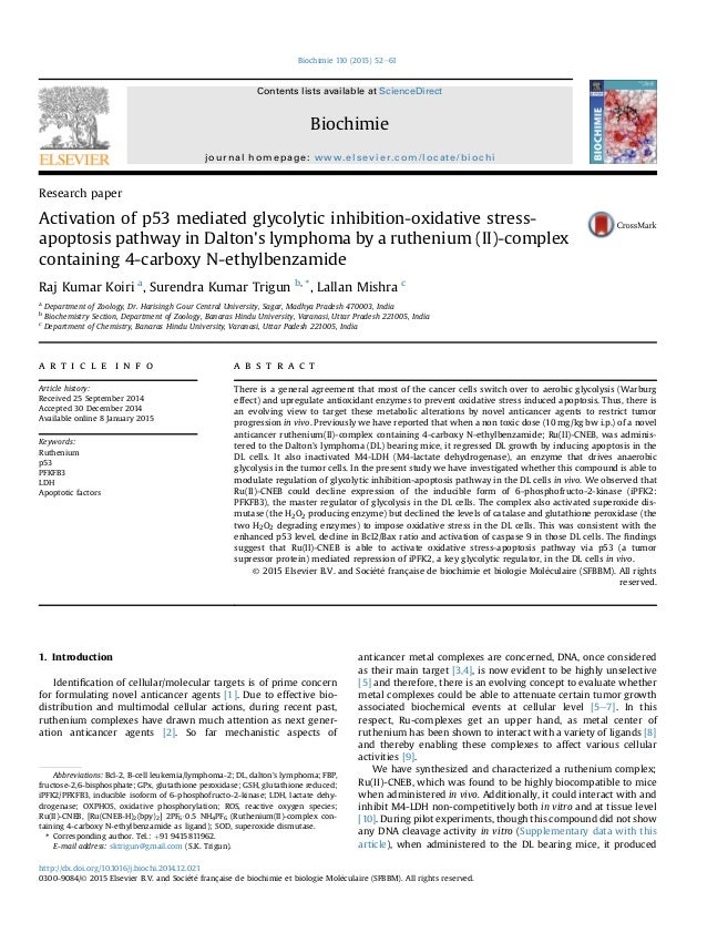 Research paper Activation of p53 mediated glycolytic inhibition-oxidative stress- apoptosis pathway in Dalton's lymphoma b...