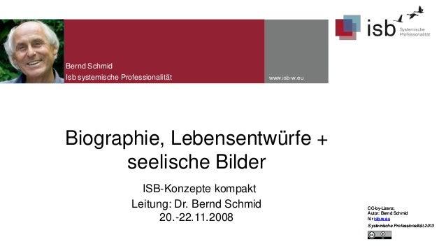 Bernd Schmid Isb systemische Professionalität  www.isb-w.eu  Biographie, Lebensentwürfe + seelische Bilder ISB-Konzepte ko...