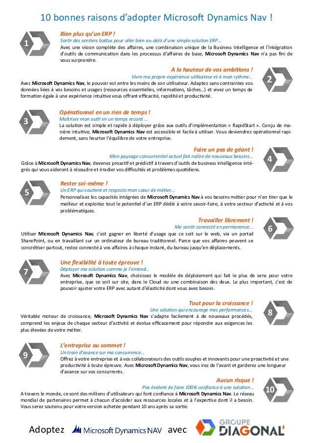 10 bonnes raisons d'adopter Microsoft Dynamics Nav ! 1 Bien plus qu'un ERP ! Sortir des sentiers battus pour aller bien au...