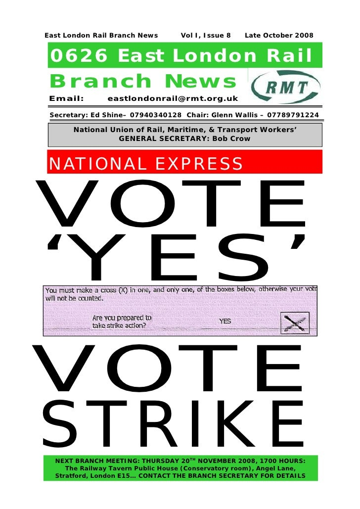 East London Rail Branch News        Vol I, Issue 8   Late October 2008 0626 East London Rail Branch New s Email:         e...