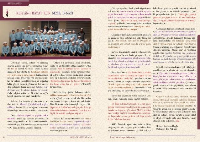 NESLİN İNŞASI İÇİN KUR'ANÎ HAYAT 98 http://www.hosgorkulliyesi.orgHOŞGÖR BÜLTENİ-2019 Sadece zekât vererek, çocuklarımızı ...
