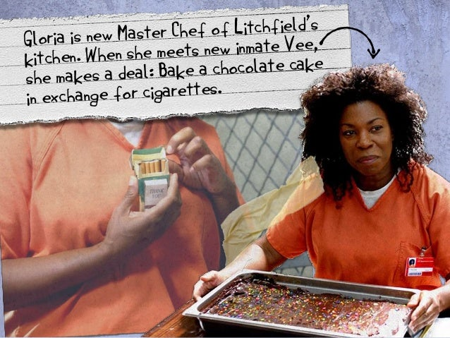 Gloria is new Master Chef of Litchfield's  kitchen. When she meets new inmate Vee,  she makes a deal: Bake a chocolate cak...