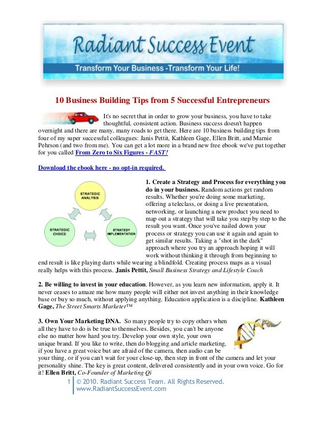 1 © 2010. Radiant Success Team. All Rights Reserved. www.RadiantSuccessEvent.com 10 Business Building Tips from 5 Successf...