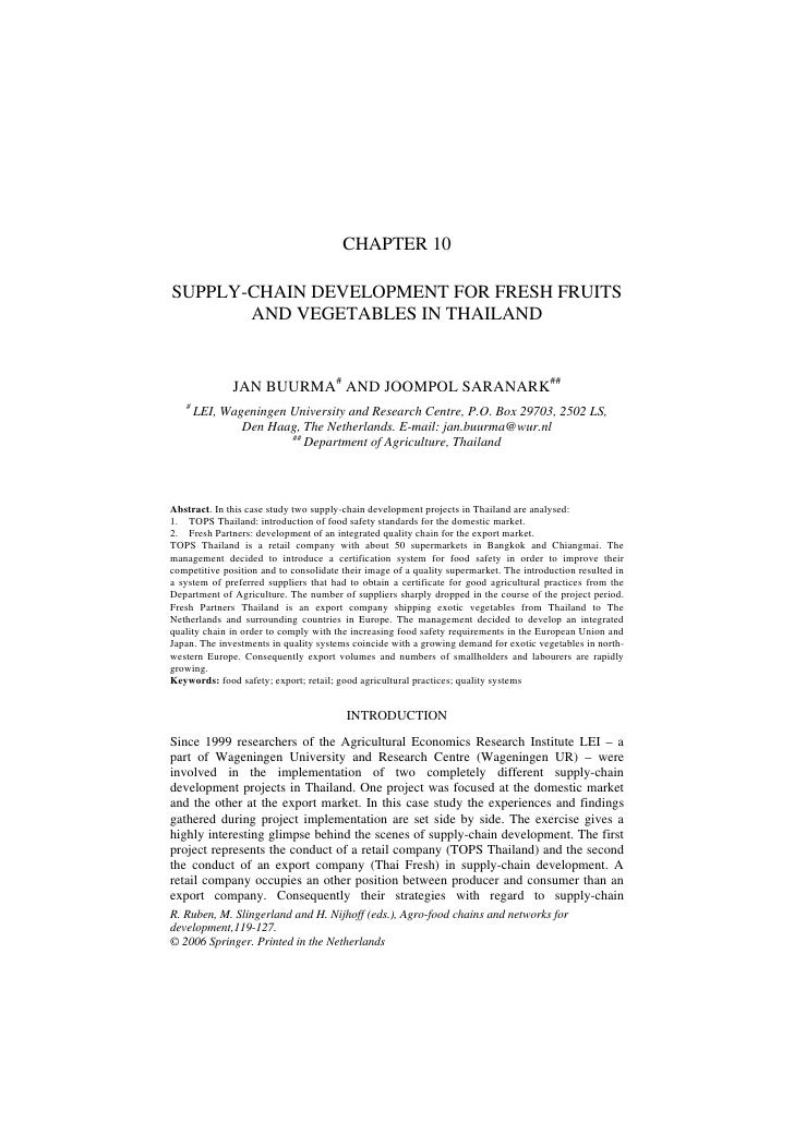 CHAPTER 10SUPPLY-CHAIN DEVELOPMENT FOR FRESH FRUITS       AND VEGETABLES IN THAILAND              JAN BUURMA# AND JOOMPOL ...
