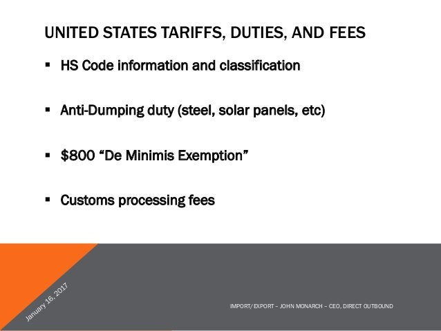 PARCEL SHIPMENT METHODS § Express carriers § USPS International § Consolidators § Packaging considerations IMPORT/EXPO...