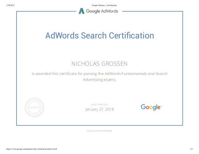 Google AdWords - Certification