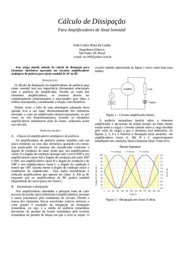 Cálculo de Dissipação Para Amplificadores de Sinal Senoidal João Carlos Rosa da Cunha Engenheiro Elétrico. São Paulo, SP, ...