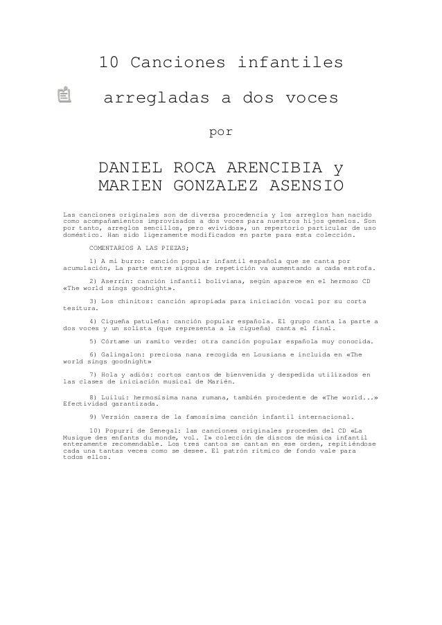 10 Canciones infantiles          arregladas a dos voces                                    por        DANIEL ROCA ARENCIBI...