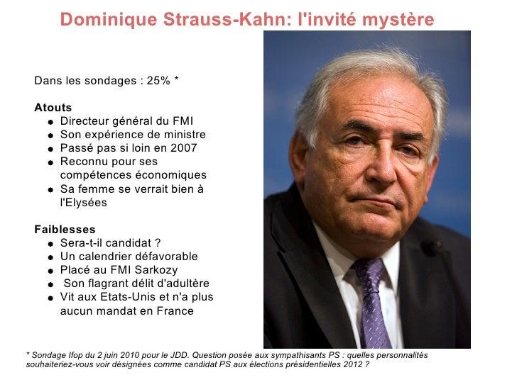 Dominique Strauss-Kahn: l'invité mystère     Dans les sondages : 25% *    Atouts       Directeur général du FMI       Son ...