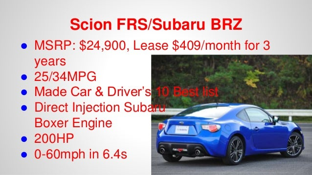 Scion Frs Lease >> 10 Affordable Cars You Want