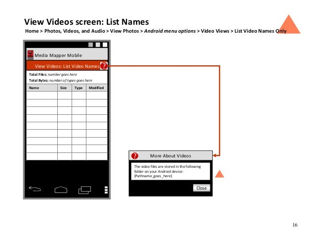 16 Media Mapper Mobile View Videos: List Video Names Name Size Type Modified Total Files: number goes here Total Bytes: nu...