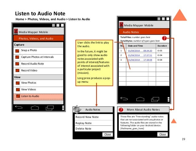 19 Media Mapper Mobile Audio Notes No. Date and Time Duration 1 01/04/2014 08:34:20 0:05 2 01/04/2014 17:37:51 0:04 3 01/0...
