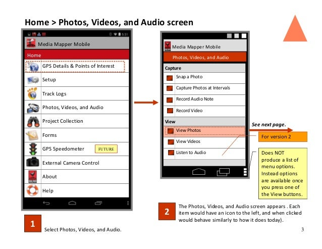 3Select Photos, Videos, and Audio. 1 The Photos, Videos, and Audio screen appears . Each item would have an icon to the le...