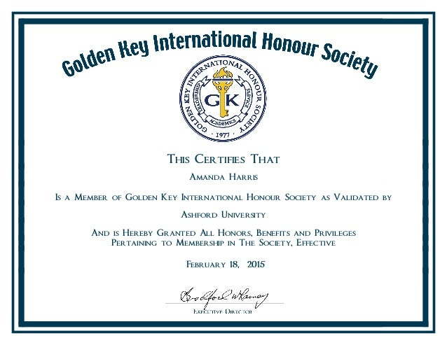 golden key international honor society certificate