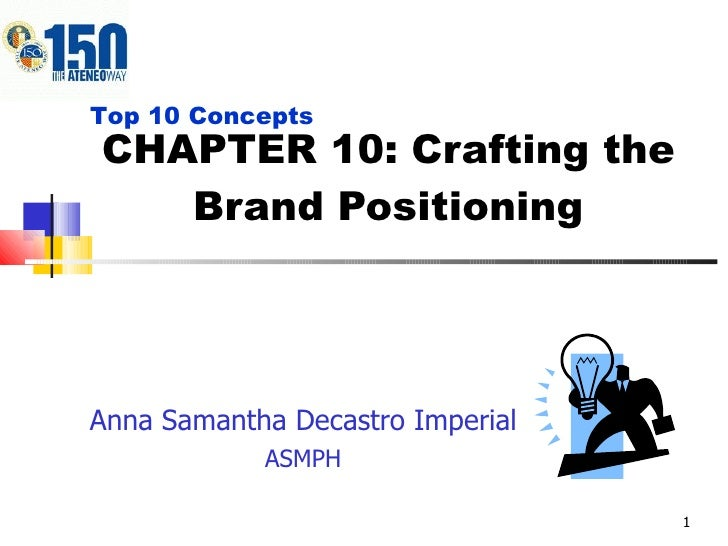 CHAPTER 10: Crafting the Brand Positioning Anna Samantha Decastro Imperial ASMPH Top 10 Concepts