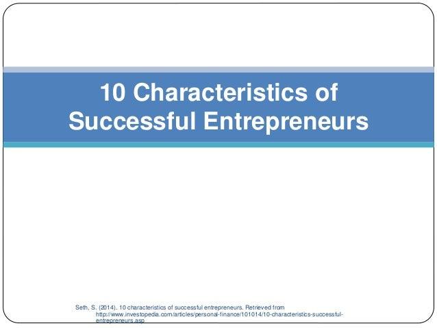 The characteristics of successful entrepreneurs