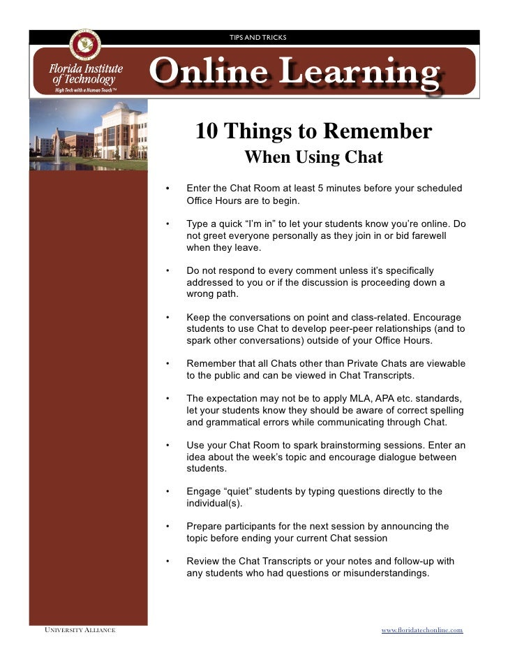 TIPS AND TRICKS                            Online Learning                                10 Things to Remember           ...