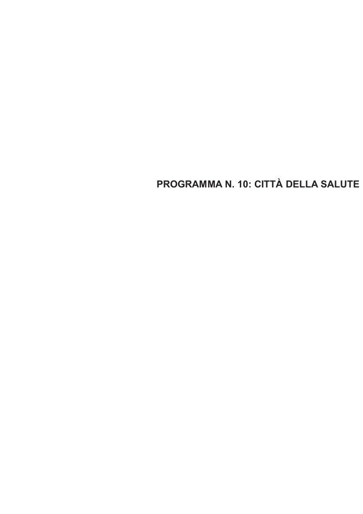 PROGRAMMA N. 10: CITTÀ DELLA SALUTE