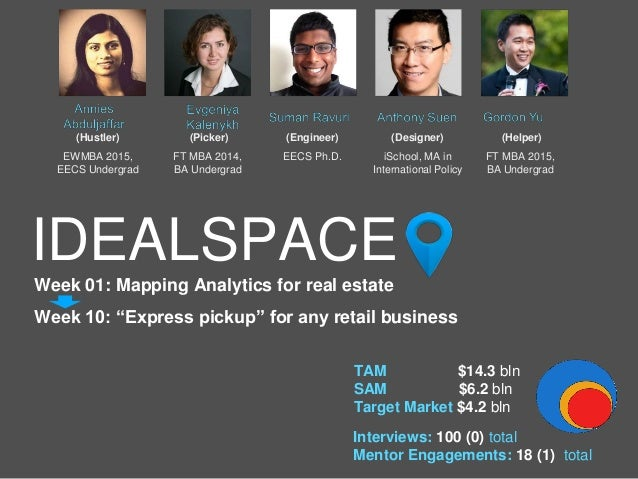 "IDEALSPACE Week 01: Mapping Analytics for real estate Week 10: ""Express pickup"" for any retail business Interviews: 100 (0..."