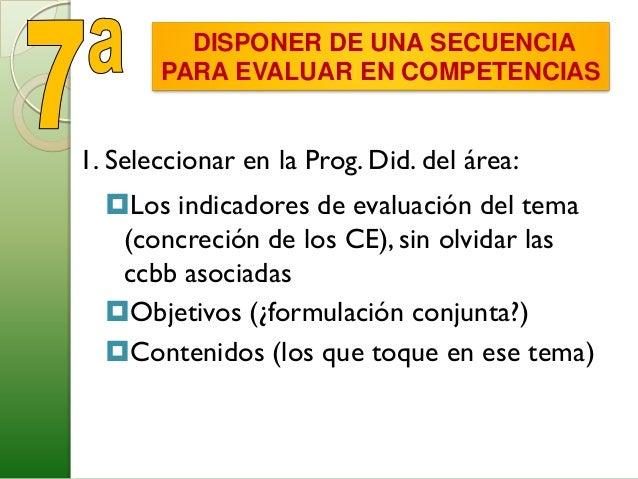 SECUENCIA A SEGUIR EN LA EVALUACIÓNPOR COMPETENCIAS2. Elegir los instrumentos de evaluación para esosindicadoresInstrument...