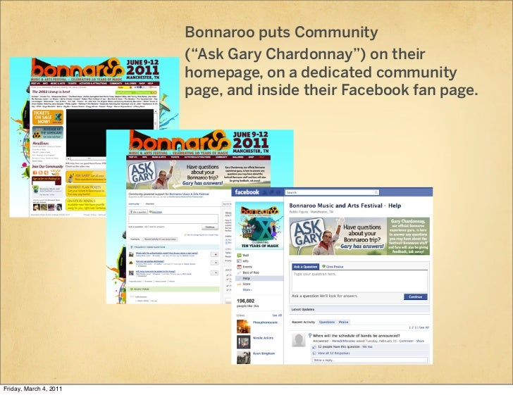 "Bonnaroo puts Community                        (""Ask Gary Chardonnay"") on their                        homepage, on a dedi..."