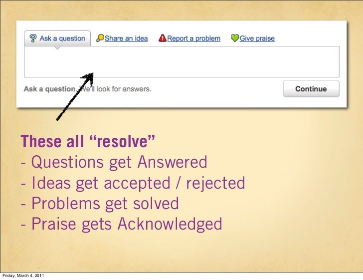 "These all ""resolve""        - Questions get Answered        - Ideas get accepted / rejected        - Problems get solved   ..."