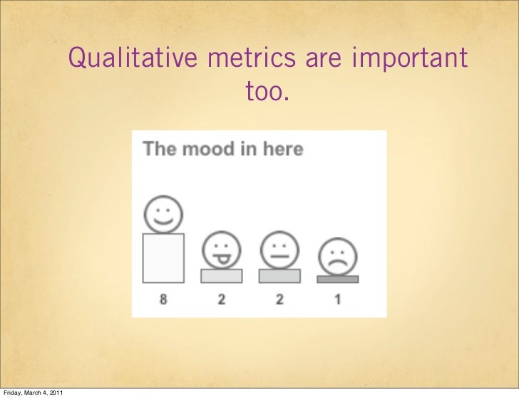 Qualitative metrics are important                                      too.Friday, March 4, 2011