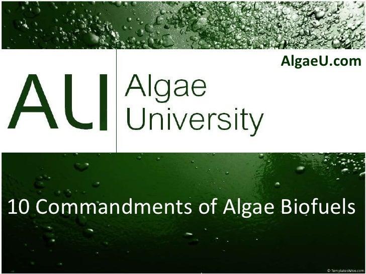 AlgaeU.com<br />10 Commandments of Algae Biofuels<br />