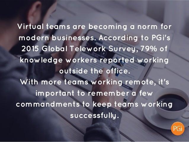 Virtualteamsarebecominganormfor modernbusinesses.AccordingtoPGi's 2015GlobalTeleworkSurvey,79%of knowledge...