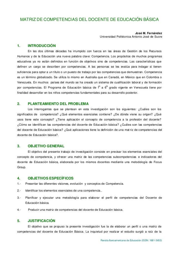 MATRIZ DE COMPETENCIAS DEL DOCENTE DE EDUCACIÓN BÁSICA                                                                    ...