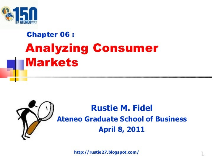 Analyzing Consumer Markets Rustie M. Fidel Ateneo Graduate School of Business April 8, 2011 Chapter 06 : http://rustie27.b...