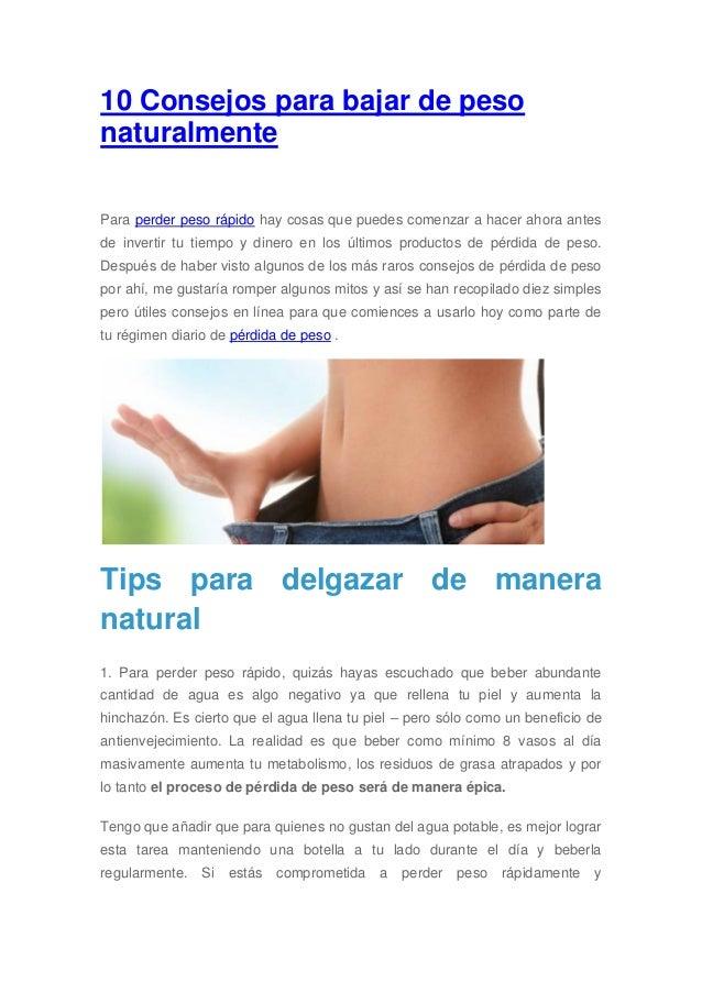 10 consejos para bajar de peso naturalmente - Que cenar para perder peso rapido ...