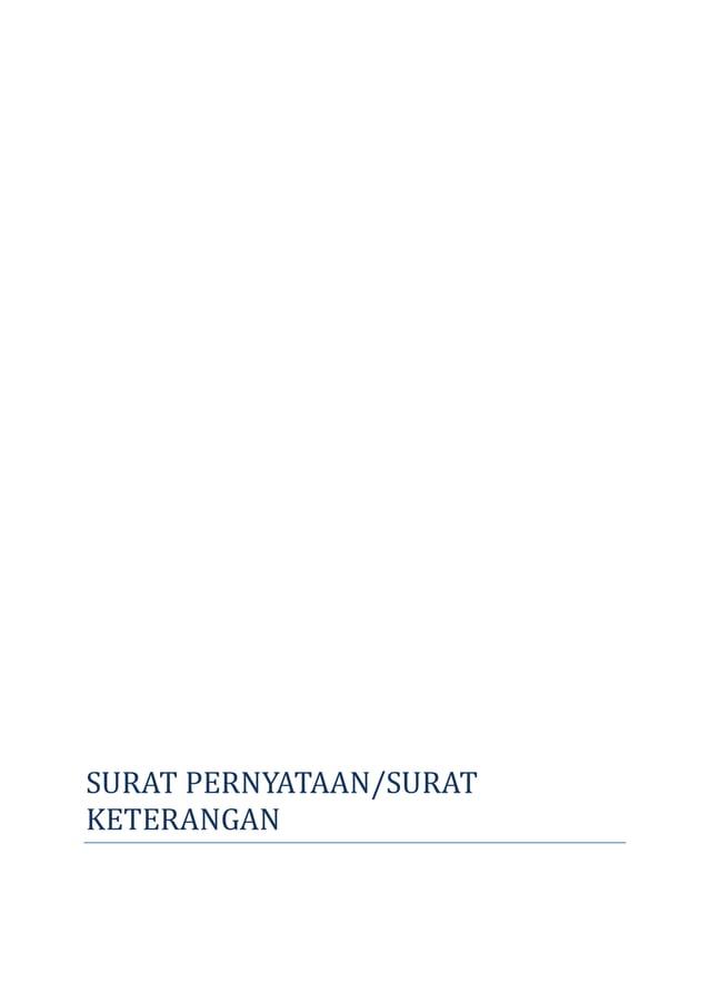 SURAT PERNYATAAN/SURAT  KETERANGAN