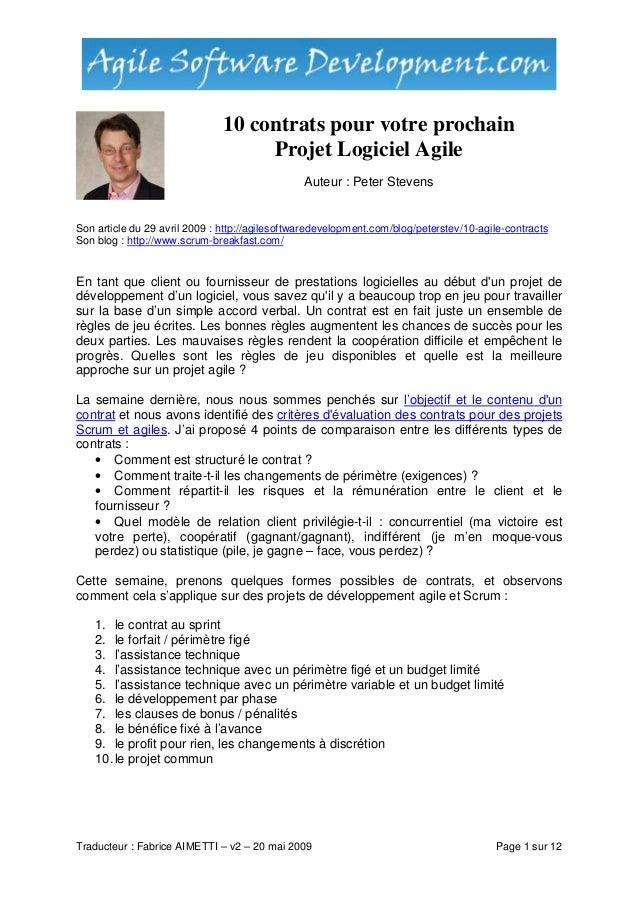 Traducteur : Fabrice AIMETTI – v2 – 20 mai 2009 Page 1 sur 12 10 contrats pour votre prochain Projet Logiciel Agile Auteur...