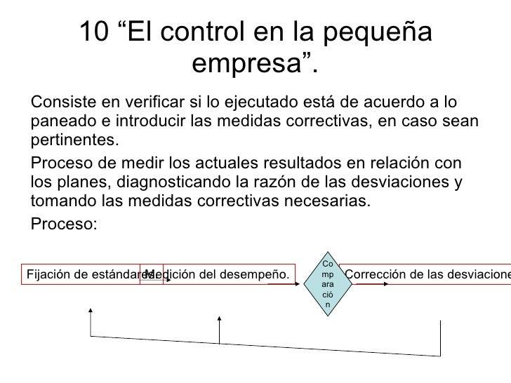 """10 """"El control en la pequeña empresa"""". <ul><li>Consiste en verificar si lo ejecutado está de acuerdo a lo paneado e introd..."""