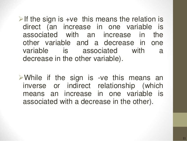 11 If the sign is +ve this means the relation is direct (an increase in one variable is associated with an increase in th...
