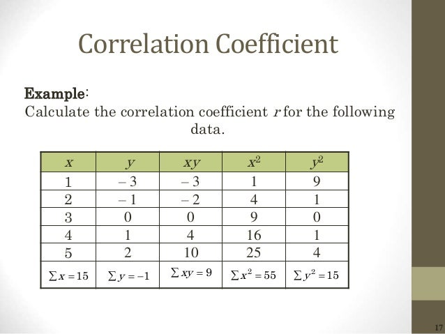 17 Correlation Coefficient x y xy x2 y2 1 – 3 – 3 1 9 2 – 1 – 2 4 1 3 0 0 9 0 4 1 4 16 1 5 2 10 25 4 Example: Calculate th...
