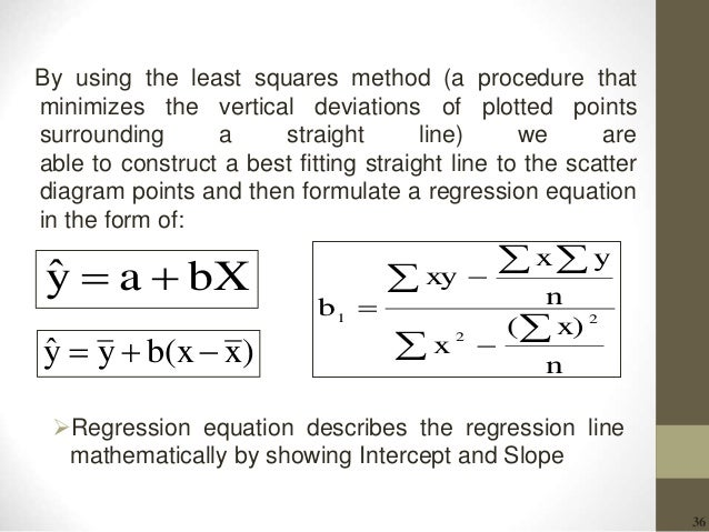 36 By using the least squares method (a procedure that minimizes the vertical deviations of plotted points surrounding a s...