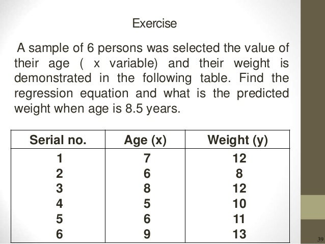39 Exercise A sample of 6 persons was selected the value of their age ( x variable) and their weight is demonstrated in th...