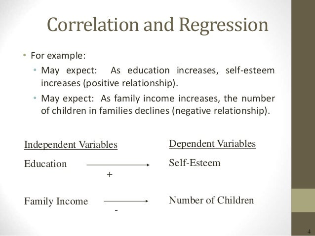 4 Correlation and Regression • For example: • May expect: As education increases, self-esteem increases (positive relation...