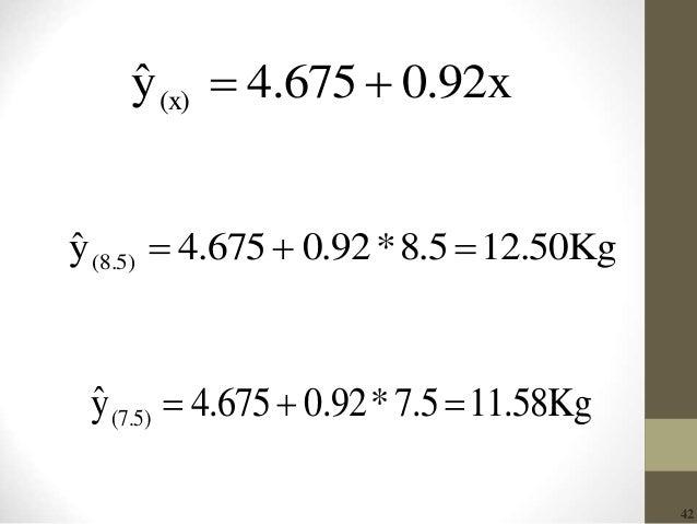 42 0.92x4.675yˆ (x)  12.50Kg8.5*0.924.675yˆ (8.5)  Kg58.117.5*0.924.675yˆ (7.5) 