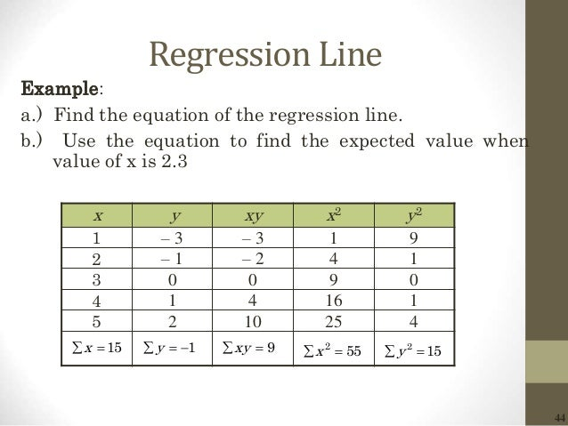 44 Regression Line Example: a.) Find the equation of the regression line. b.) Use the equation to find the expected value ...
