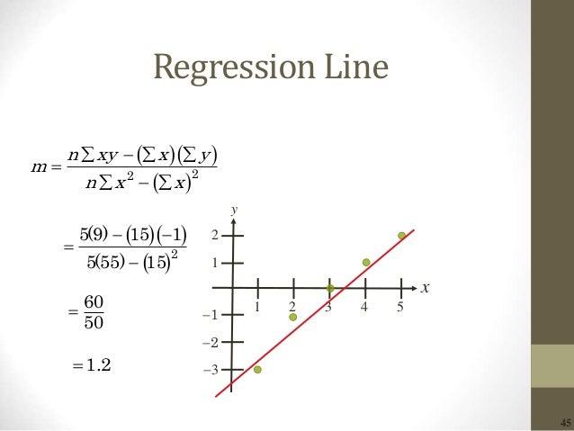 45 Regression Line 2 x y 1 1 2 3 1 2 3 4 5     22 n xy x y m n x x             2 5(9) 15 1 5(55) 15...