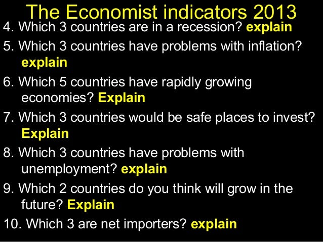 The Economist indicators 2013  4. Which 3 countries are in a recession? explain 5. Which 3 countries have problems with in...