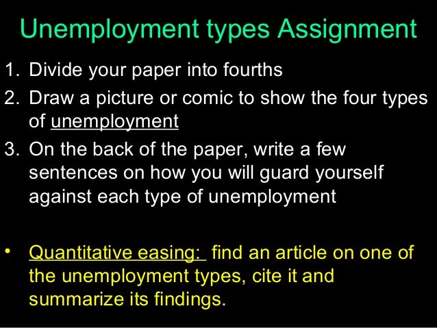 Unemployment types Assignment 1. Divide your paper into fourths 2. Draw a picture or comic to show the four types of unemp...