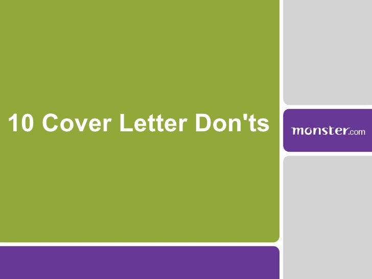 10 Cover Letter Don'ts