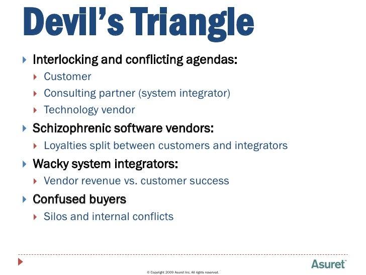 Devil's Triangle    Interlocking and conflicting agendas:        Customer        Consulting partner (system integrator)...