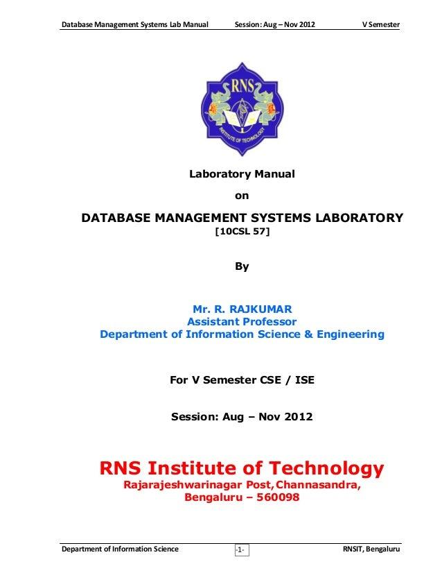10 csl57 dbms lab rh slideshare net dbms lab manual vtu pdf mca dbms lab manual vtu