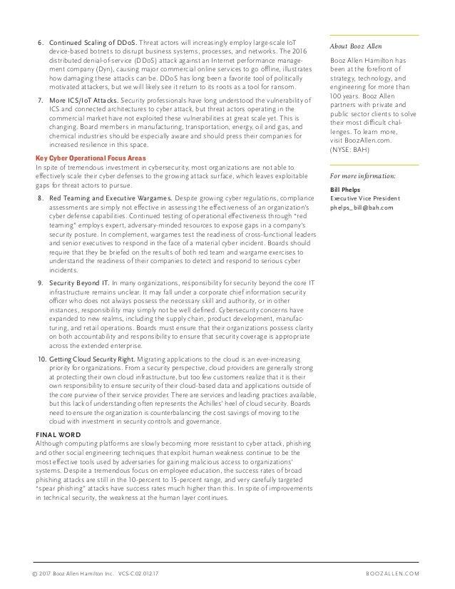 Booz Allen's 10 Cyber Priorities for Boards of Directors Slide 2